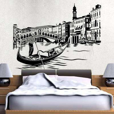 Adesivo De Parede Ponte de Veneza E Barco
