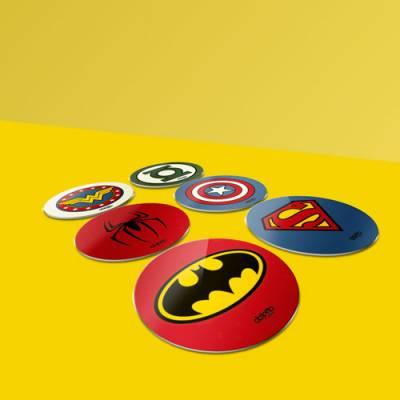 Porta Copos DC Universo em MDF 3mm Adesivado 6 unidades