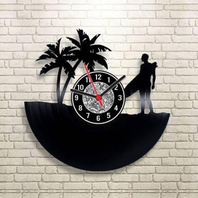 Relógio de Disco de Vinil Star Surfista e Coqueiros