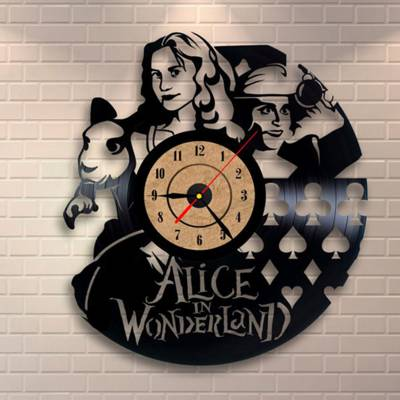 Relógio De Disco De Vinil Alice No Pais Das Maravilhas