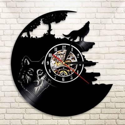 Relógio De Disco De Vinil Animais Lobo Uivando Para Lua