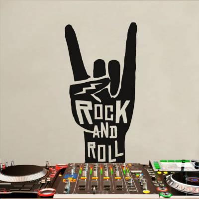 Adesivo de Parede Frase Rock And Roll Personalizada