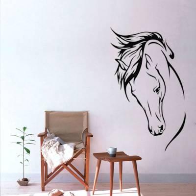 Adesivo De Parede Cavalo Crina Ao Vento