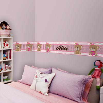 Faixa de ursinha com laço rosa e coração com nome personalizado