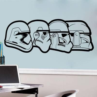 Adesivo De Parede Capacetes Star Wars