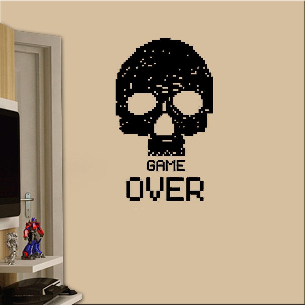 Aparador De Coxa Thunder ~ Adesivo De Parede Caveira Pixelada Game Over