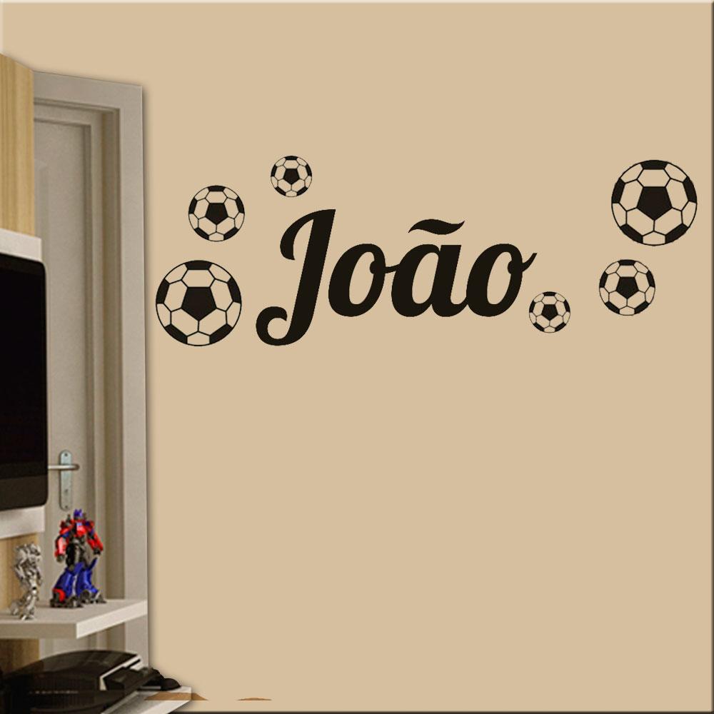 Adesivo de Parede Bolas De Futebol Com Nome Personalizado 41961b3f44f07