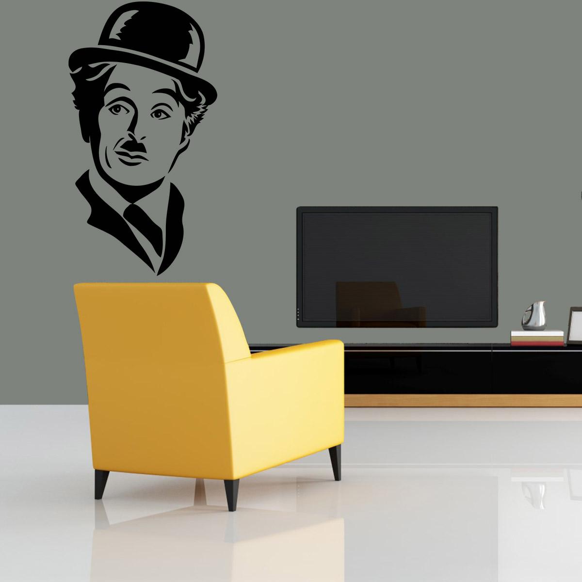 Aparador Moveis ~ Adesivo De Parede Personalidades Rosto Charlie Chaplin 02