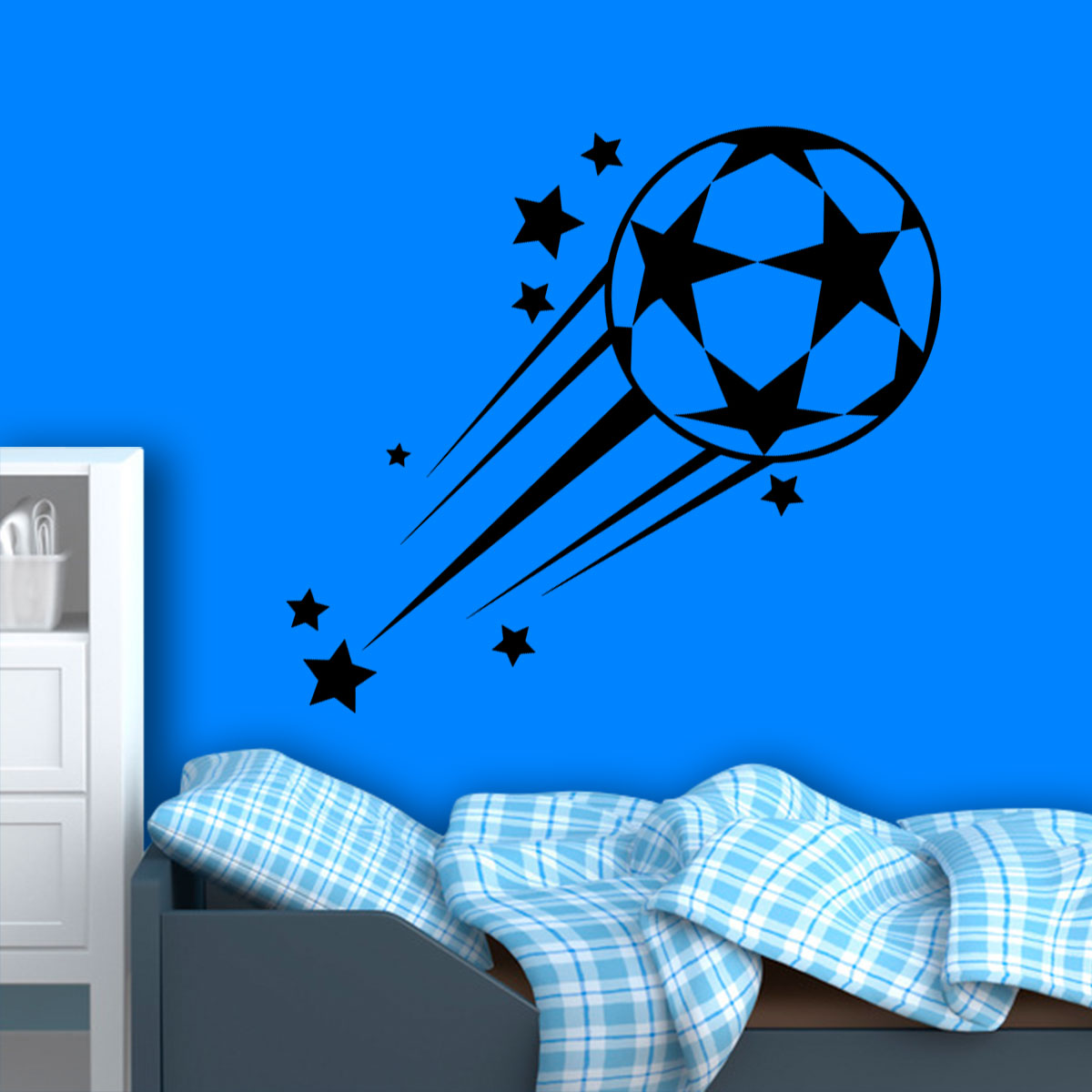 ca8fea241f Adesivo De Parede Bola De Futebol Com Estrelas