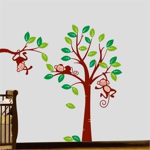 Adesivo Para Furo De Orelha ~ Adesivo de Parede Infantil Macaquinhos na Arvore
