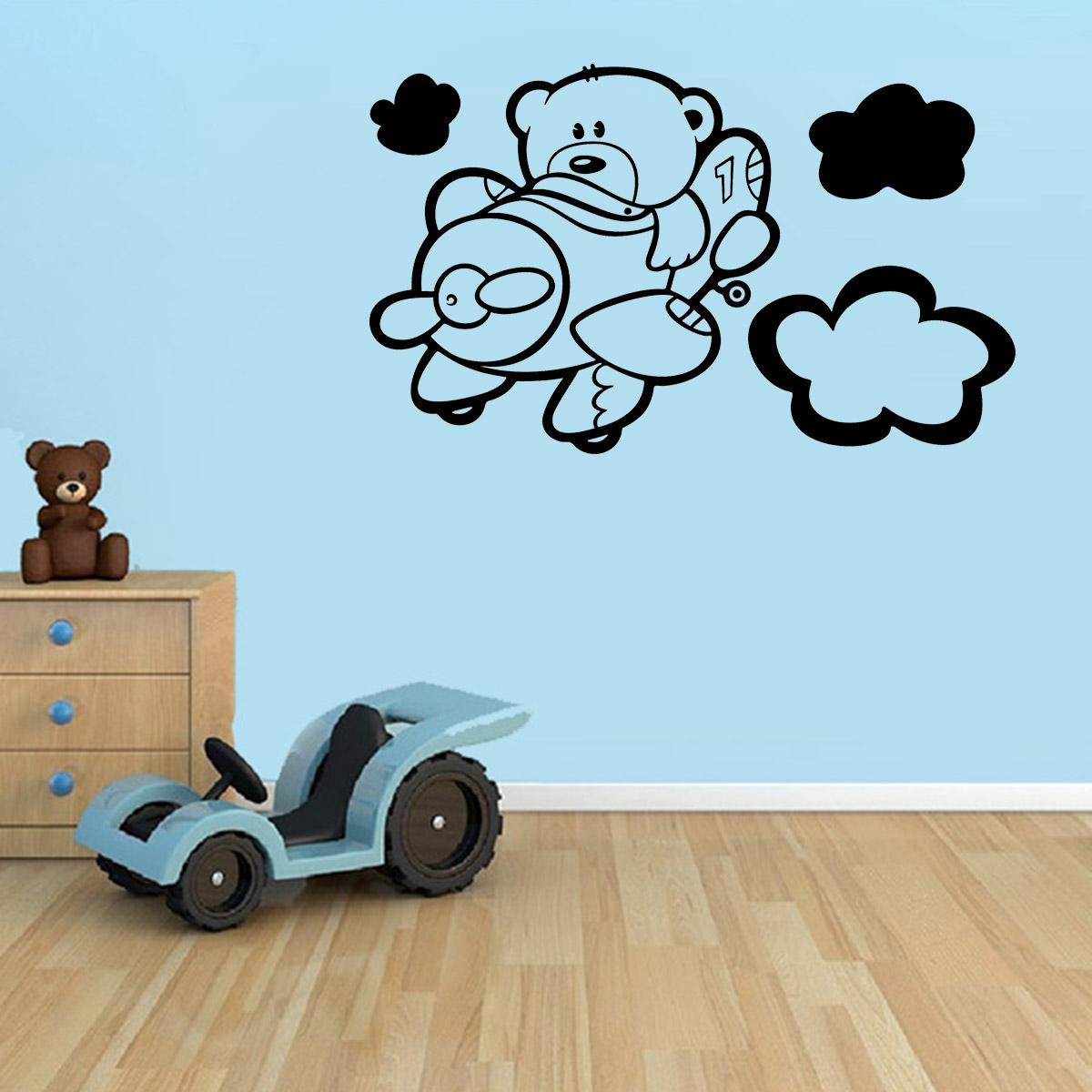 Adesivo Para Moto Z Play ~ Adesivo de Parede Infantil Urso no Avi u00e3o