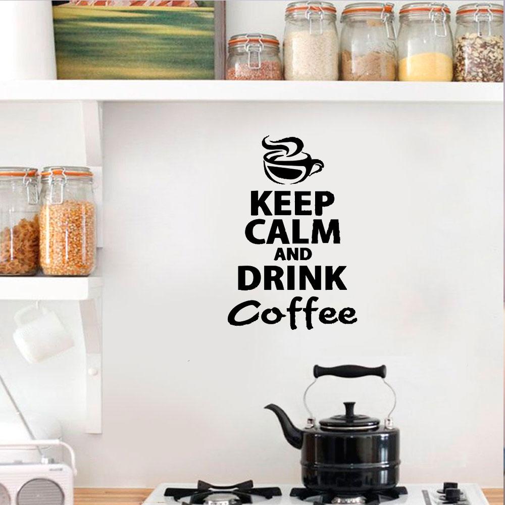 Aparador Que Vira Mesa Etna ~ Adesivo De Parede Keep Calm And Drink Coffee