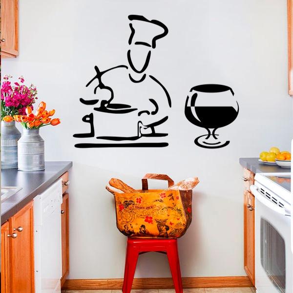 Artesanato Com Tecido E Cola ~ Adesivo de Parede para Cozinha Modelo Cozinheiro