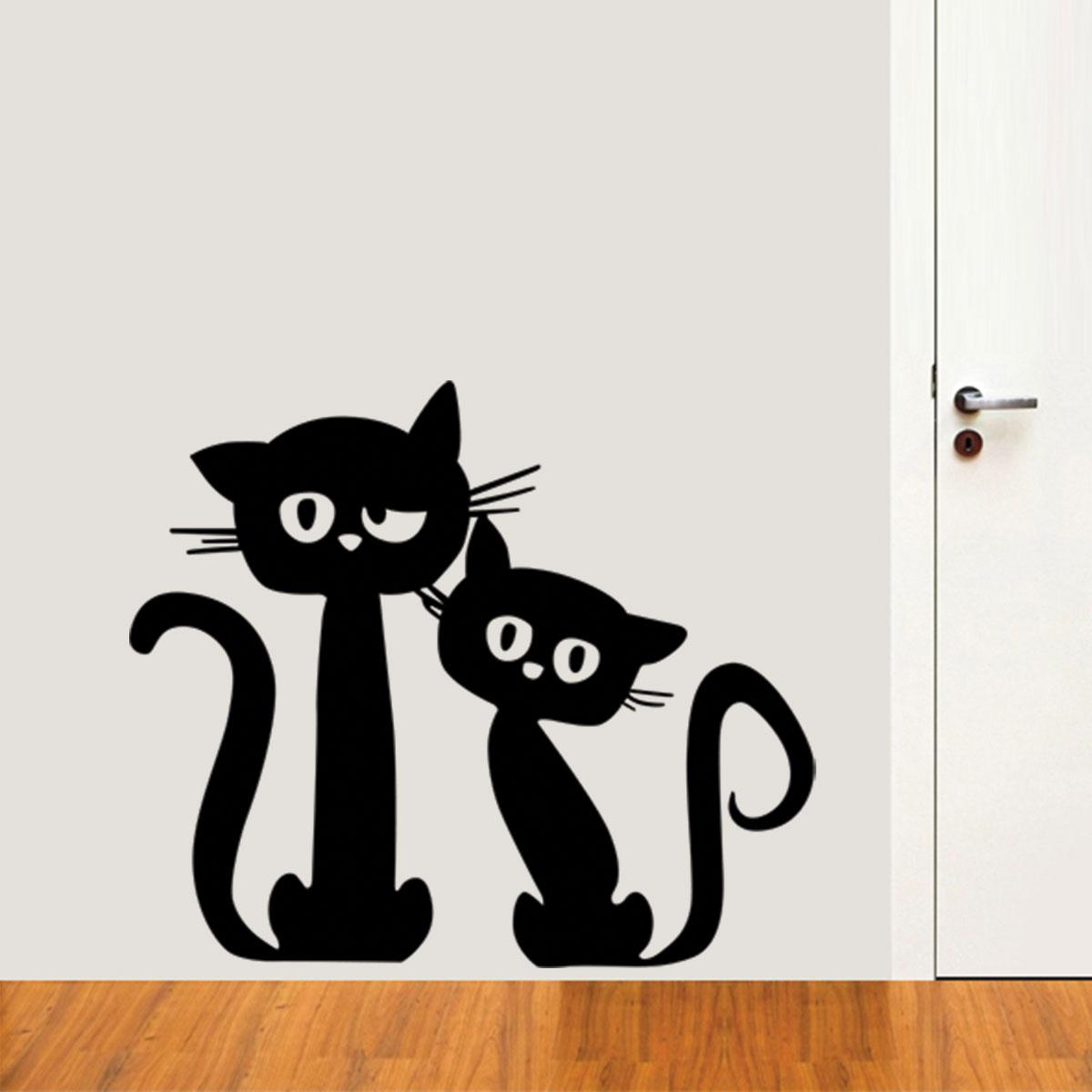 Aparador Para Hall ~ Adesivo de Parede Animais Casal De Gatos