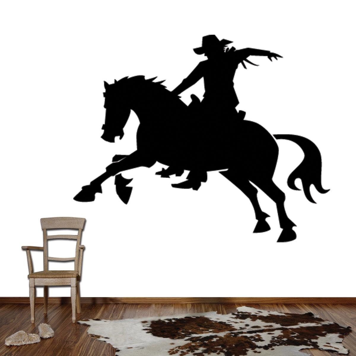 Adesivo De Parede Cowboy Em Cima Do Cavalo 7ae68536d9a