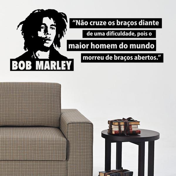 Adesivo De Parede Frase Bob Marley Mix Adesivo
