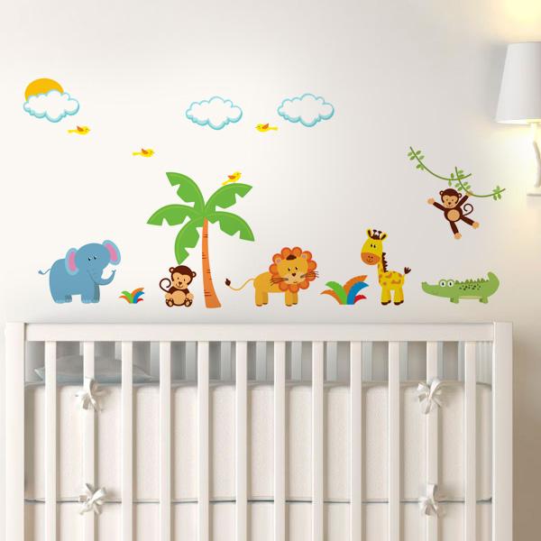 Adesivo de parede infantil Safári Modelo 2 ~ Adesivos De Parede Para Quarto De Bebe Urso