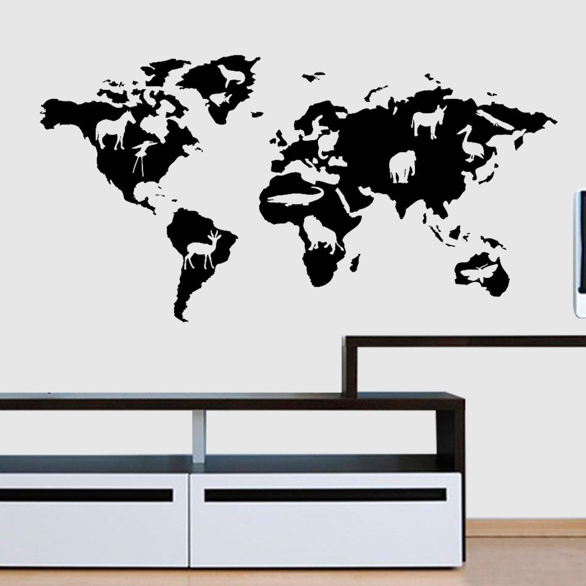 Armario Moderno De Cozinha ~ Adesivo De Parede Mapa Mundi Com Animais