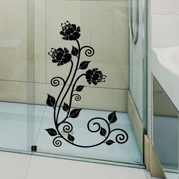 Adesivo para Box de Banheiro Floral 2 -> Adesivo Para Decoracao De Banheiro
