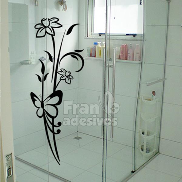 Adesivo para Box de Banheiro  Floral 7 -> Adesivo Para Armario De Banheiro