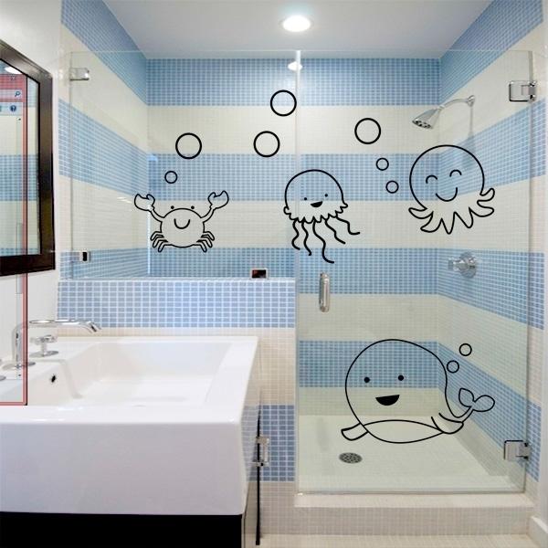 Adesivo para Box de Banheiro Fundo do Mar -> Banheiro Pequeno Adesivo