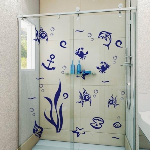 Adesivo para Box de Banheiro Fundo do mar 3 -> Adesivo Para Armario De Banheiro