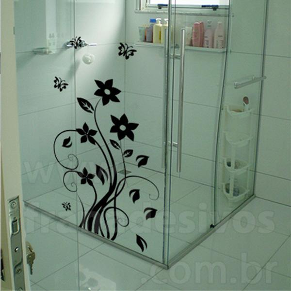 Adesivo para Box de Banheiro  Floral -> Banheiro Pequeno Adesivo