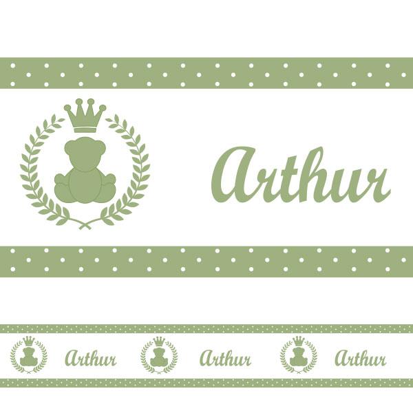Adesivo de Parede Faixa Personalizada Urso Verde Malva  ~ Quarto Verde Malva