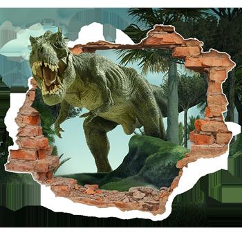 5abcffe4d Adesivo de Parede Buraco Falso Dinossauro 3D